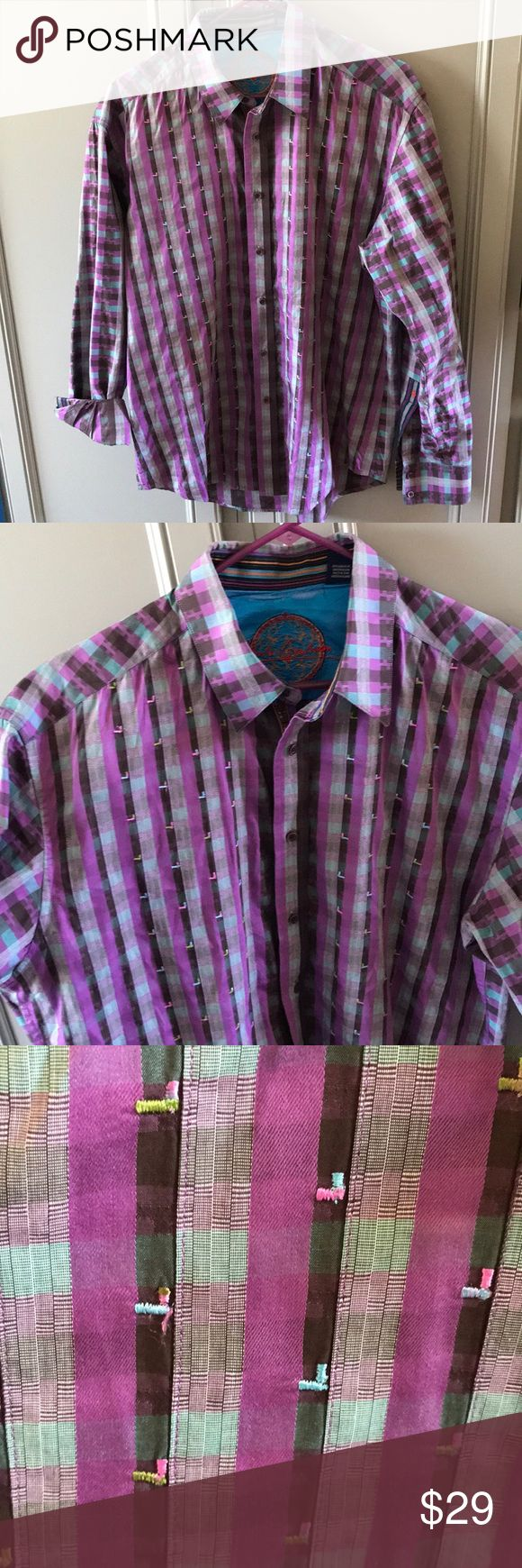 """Robert Graham button down Shirt Robert Graham button down Shirt """"Knowledge Wisdom Faith"""" Beautiful Ladies Plaid Shirt w/ Embroidered detail Long sleeve,  wear them down or roll them up.  Black, Purple, and Aqua colors New without tags Robert Graham Tops Button Down Shirts"""