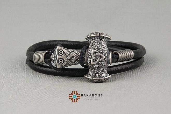 Viking Bracelet with Thor's Hammer Leather Wristband  With Bronze Mjollnir Mjolnir Mjölnir 001-045 by PAKABONE on Etsy https://www.etsy.com/listing/514674018/viking-bracelet-with-thors-hammer