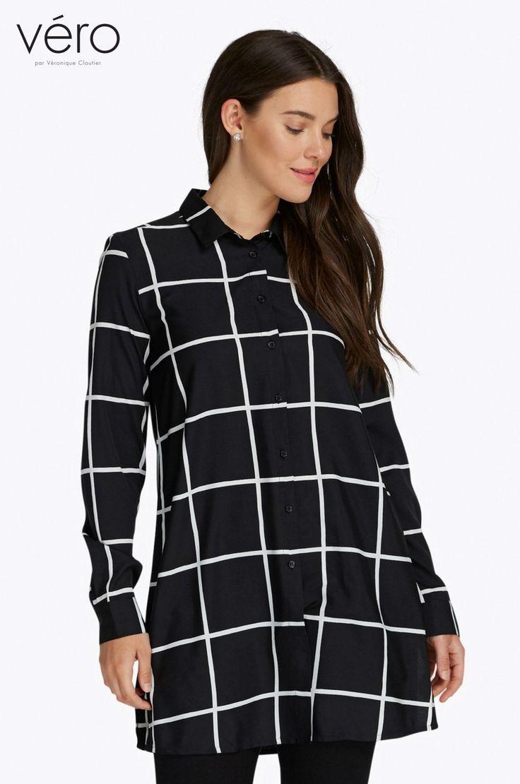 Tunique à carreaux avec petit col chemise. Composition: 100% Polyester.