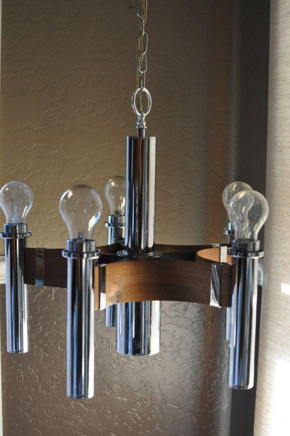 Mid century danish modern teak chrome 5 light chandelier for Danish modern light fixtures