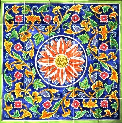 DECORATIVE CERAMIC TILES Floral design mosaic by tunisiandecor, $275.00