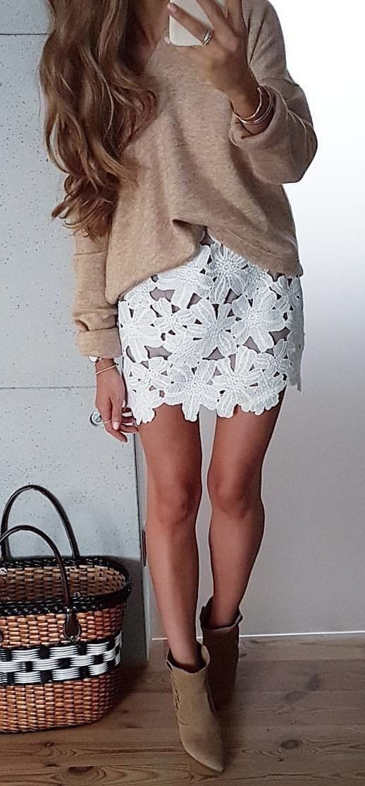 #fall #outfits women's gray long-sleeve shirt and white lace mini skirt