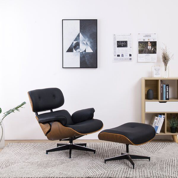 This 2 Piece Lounge Chair And Ottoman Is A Perfect Addition To Any Home The Set Of The Leisure Cha In 2020 Black Lounge Chair Eames Lounge Chair Chair And Ottoman Set