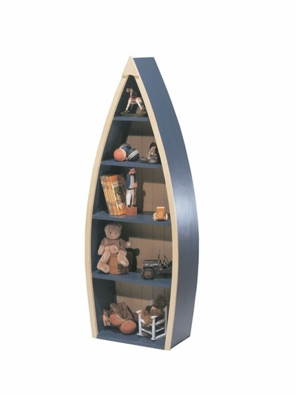 """Rowboat Bookcase--let's do it in Deep Blue with inside back and edge in White to match """"Layla Grayce/Newport Cottages Dream Room"""