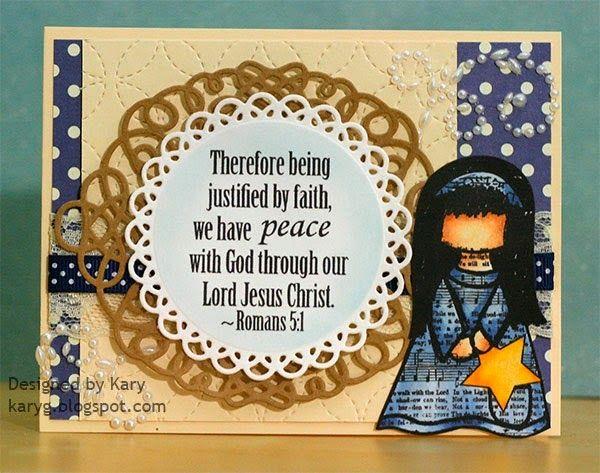 inspiredstamps.blogspot.com, kary, christmas card, hymn girls stamp set, scripture stamps