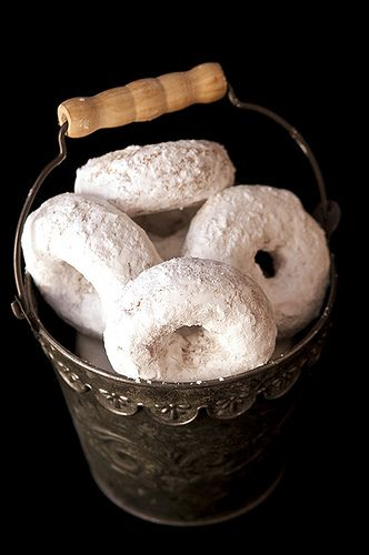 whole wheat powdered sugar donuts (baked not fried.) made these tonight as a surprise for my honey. speaking of honey, i subbed the 1/3 cup of sugar for 10 tsp of sugar plus 2 Tbsp of honey.