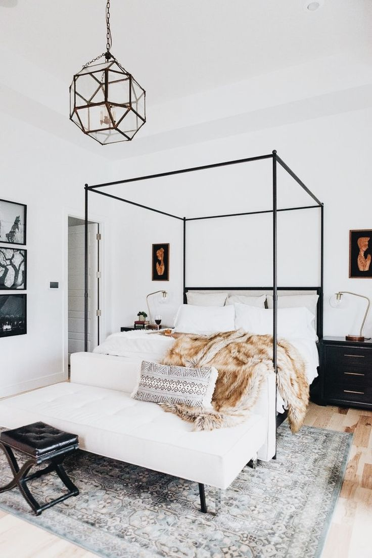Bedroom | Four Posted Bed | Pillows | Bench seat | Flowers | Art |Minimalism | White Bedroom | Wood Floors | House | Home | Interiors | Interior Design | Interior Designer | Costa Mesa | Newport Beach | Orange County | California | Design Beautifully! | w