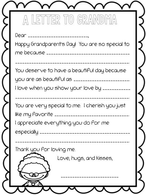 Grandparent S Day Letter Fill In The Blank Upper Grade Memoirs