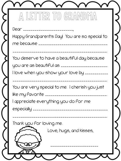 Grandparents Day Letter Fill In The Blank September