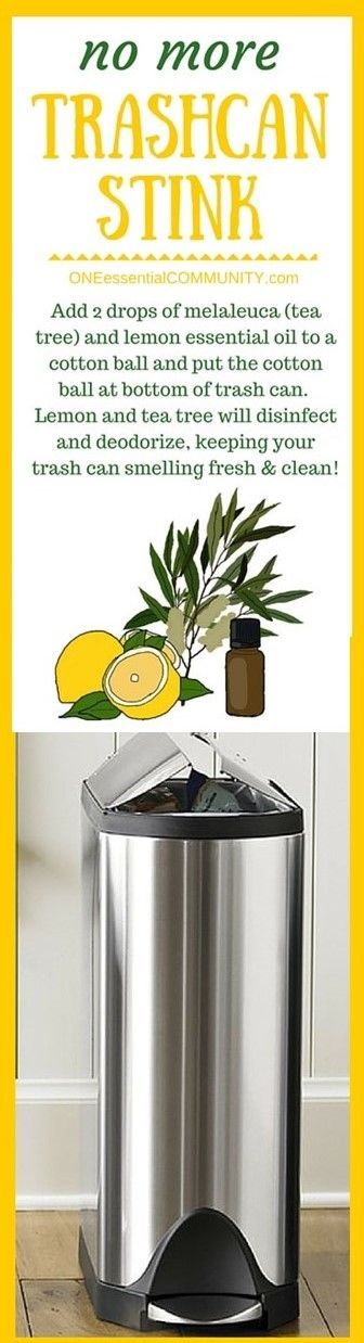 genius essential oil tip #23 (of 31)- there's even a FREE PRINTABLE of all 31 ideas!! -- Love this one! no more trashcan stick!  Add 2 drops of melaleuca (tea tree) and lemon essential oil to a cotton ball and put the cotton ball at the bottom of a trashcan.  Lemon and tea tree will disinfect and deodorize, keeping your trashcan smelling fresh and clean!