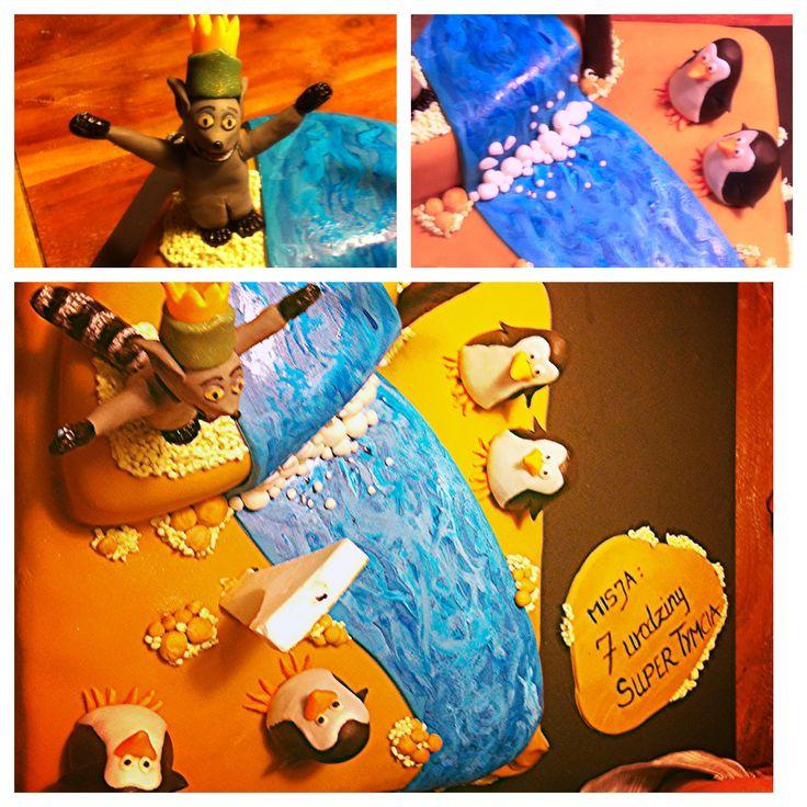 Tort urodzinowy - Madagaskar, Król Julian i Pingwiny