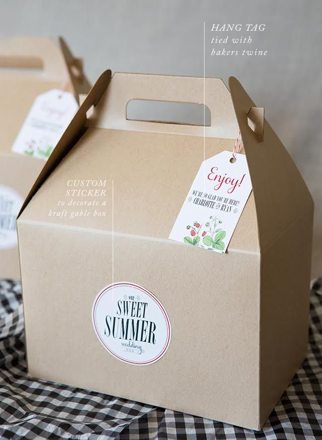 Create this adorable and affordable DIY boxed lunch for a picnic style or BBQ wedding! Thanks to our friends at Zazzle you can customize nearly everything!