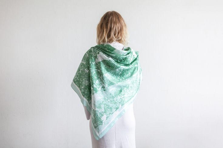 Studio Cosima x Studio Haze Mineral silk scarf collection Jade scarf 124 x 124 cm