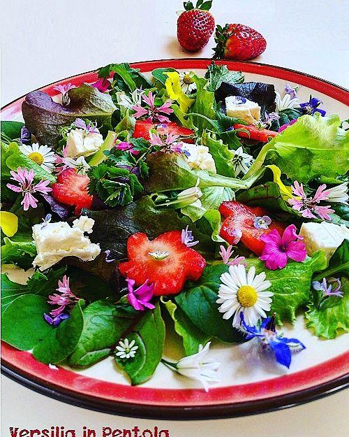 insalatona mista con fiori e frutti di primavera