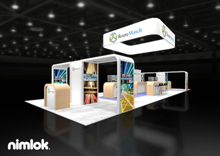 Nimlok designs and creates portable trade show exhibits and technology displays. For Routematch Software we showcased their brand with a custom large-scale trade show booth.