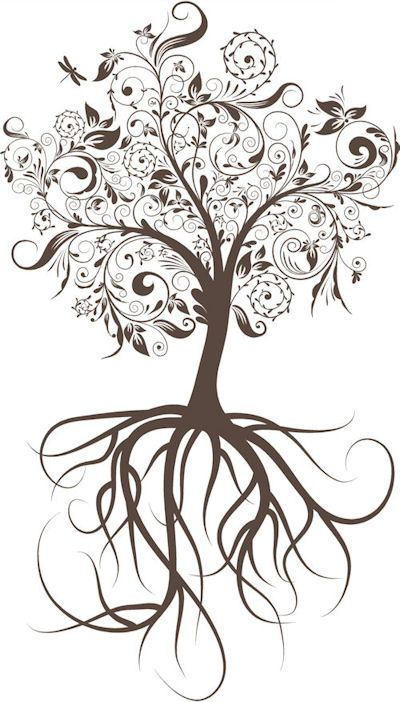 Tree With Roots | Interesting idea for tattoo, family tree. Perhaps delicate detail with letters etc