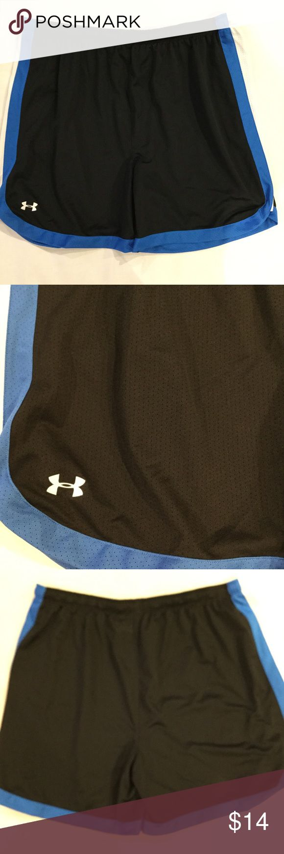 Under Armour Mesh Shorts Women's Heat Gear. Under Armour Mesh Shorts Size XL Women's Heat Gear Blue and White Striped Black Under Armour Shorts