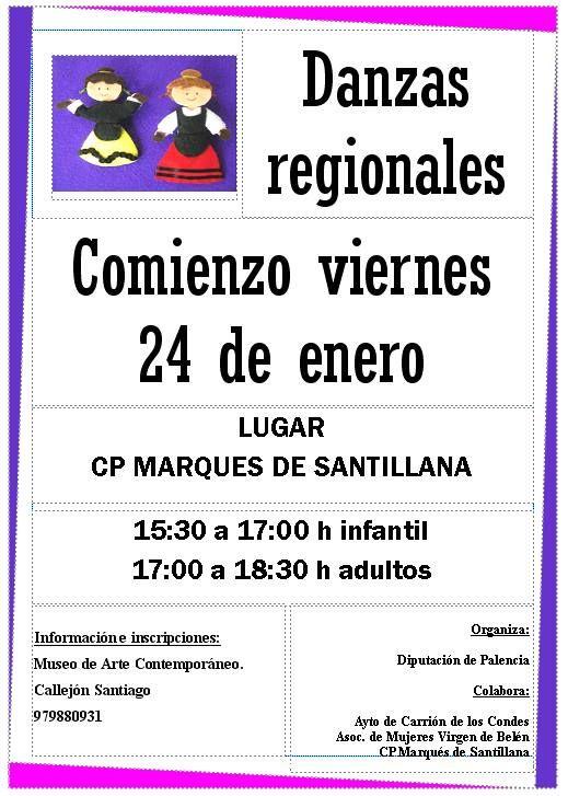 Curso de danzas regionales en Carrión de los Condes Palencia