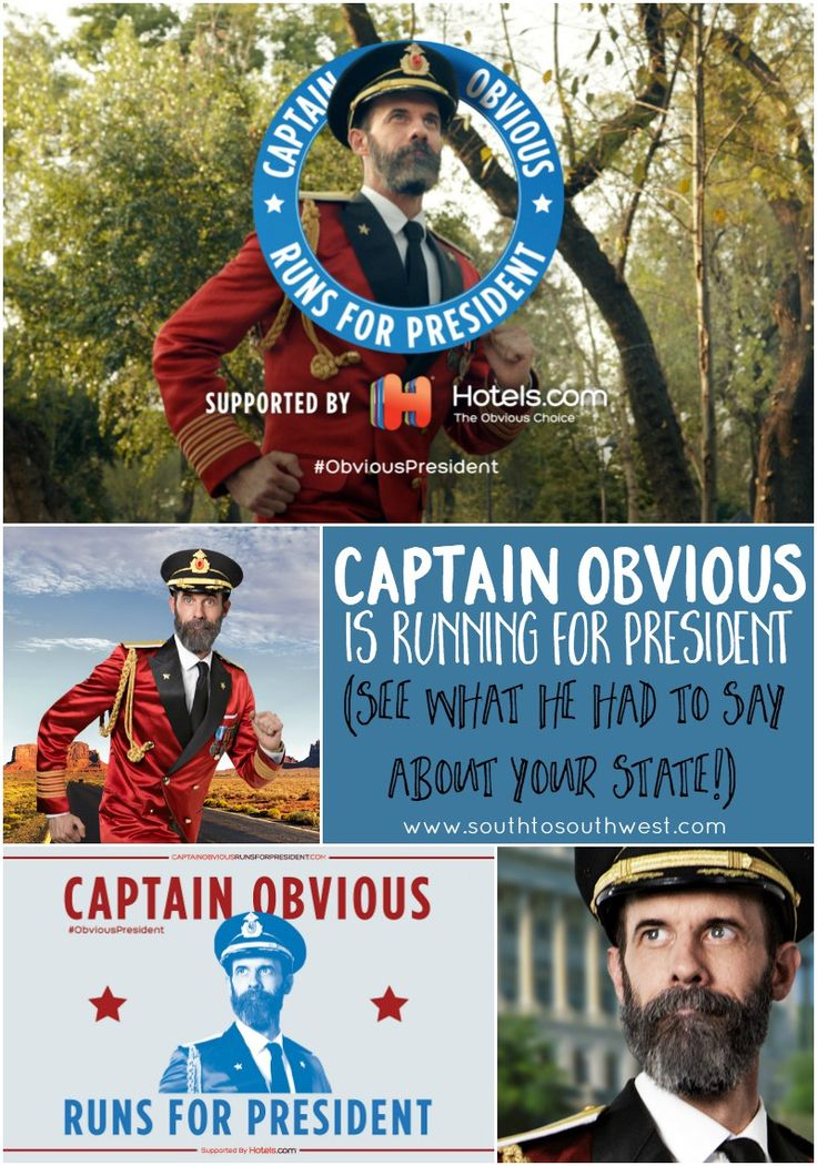 Captain Obvious entered the presidential race, and he's got his running shoes on! Follow his run at CaptainObviousRunsForPresident(dot)com  #ObviousPresident #ad