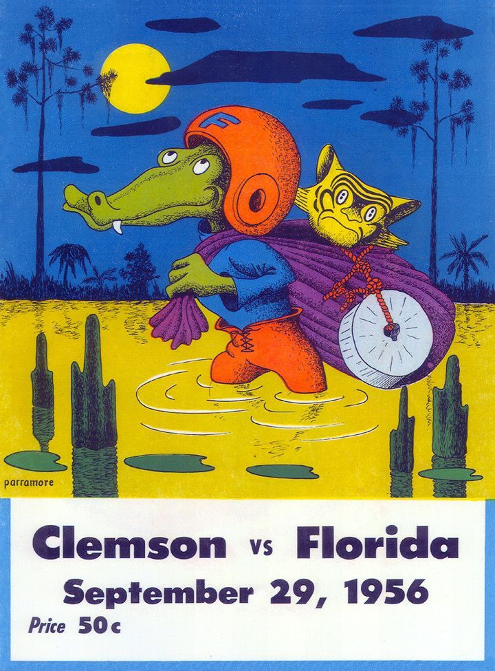 Vintage football program Football poster, Clemson, Florida