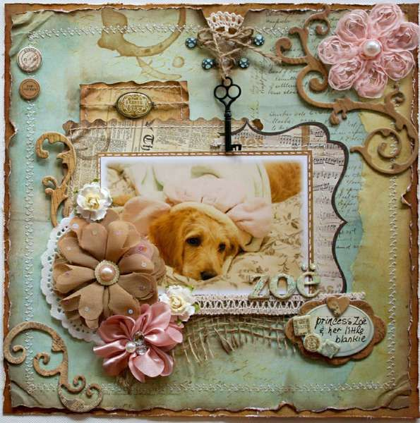 this is beautiful. love the colors. and love the puppy too. :) #scrapbooking #bobunny