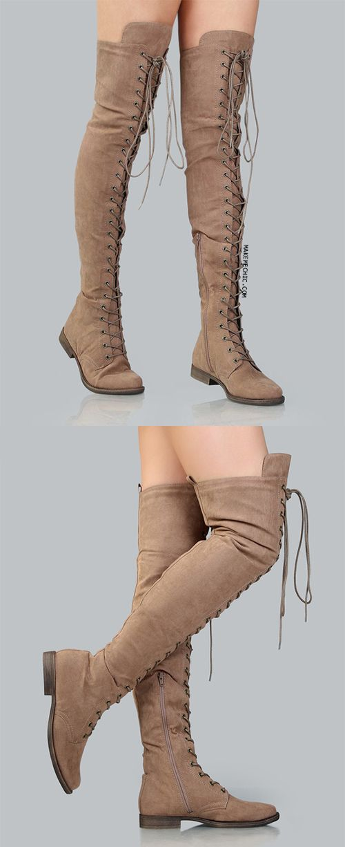 "Tackle your fashion dilemmas with the Thigh High Suede Combat Boots! Features a faux suede upper, lace up design, and a side zipper for easy put on and removal. Finished with a .75"" flat heel. Wear with a grunge inspired ensemble for a cool 90s look."