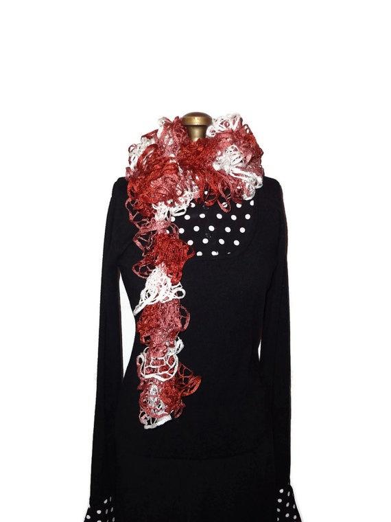 Ruffle Scarf Cinnamon Knitted by chrysalisjewelrytx on Etsy, $22.99