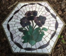 "Flowers with Ribbon Boarder 16"" Stained Glass Garden Stone"