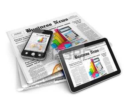 Noticias de negocios 3d, fondo blanco, imagen 3d