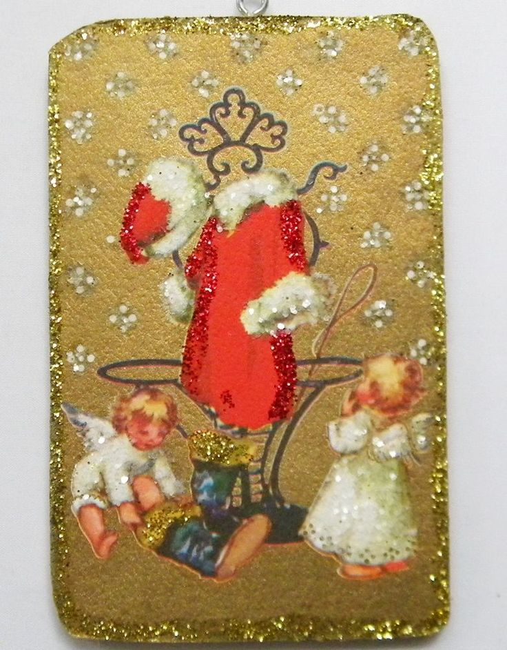 Angels Trying Santas Boot Glittered Christmas Ornament Vintage Greeting Card