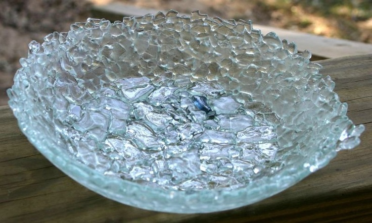 Fused glass bowl made from broken tempered glass. Made one