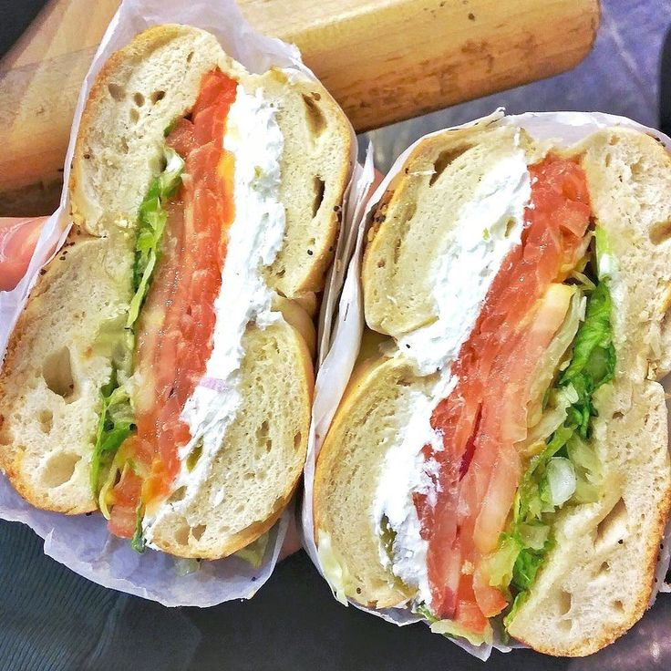 You know it's going to be good if your bagel sandwich is bigger than your head and has a thicker layer of cream cheese than vegetables  by sarahfitfoodie