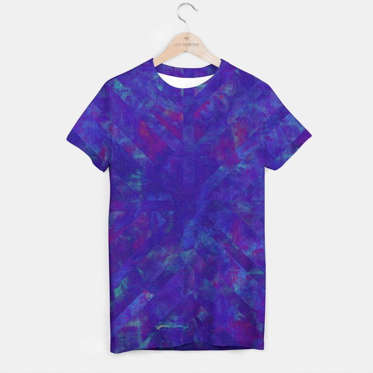 Painted Geometry 1 Tees by Fimbis  _________________________________ purple, violet, ultra violet, stripes, cyan, fluid art, fluid painting, apparel, mens wear, women wear, kids wear, fashionista, fashion, style, colour of the year, color of the year, t-shirts, tees,