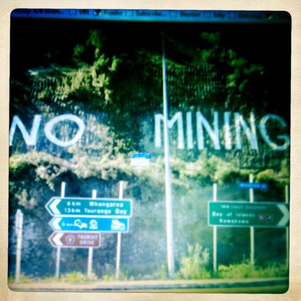A big 'No Mining' sign on Whakarara in Whangaroa which is at threat from mining #ANFS #HIKOI