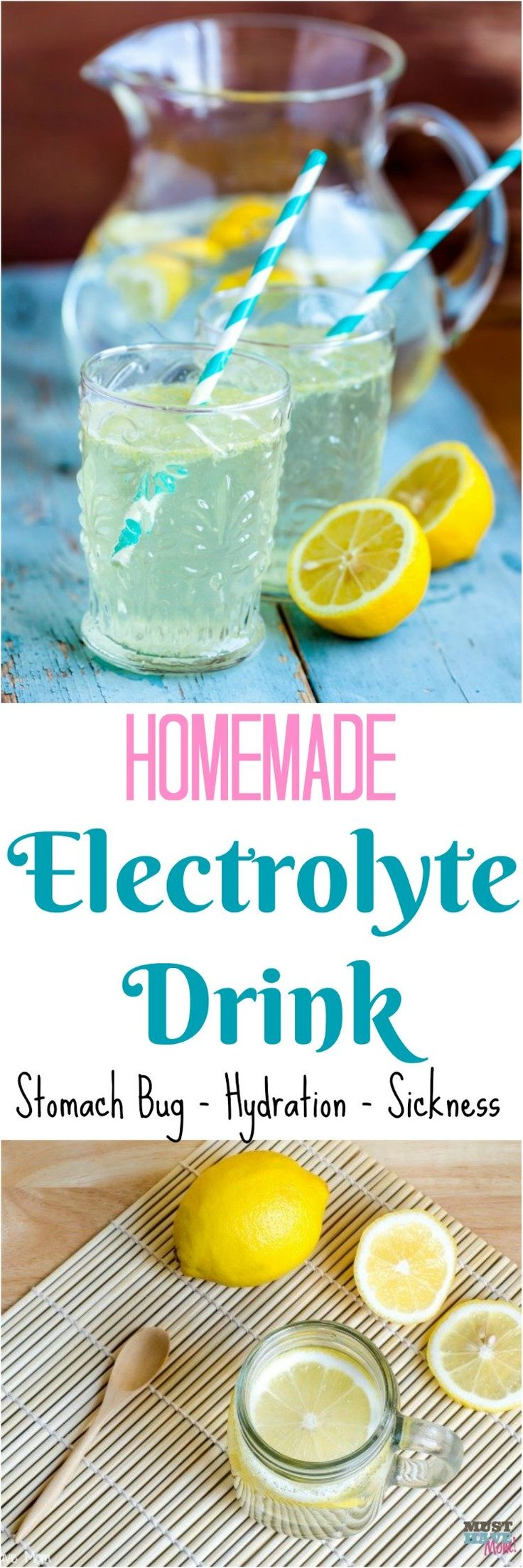 Homemade Electrolyte Drink recipe for sickness, hydration, stomach bug, food poisoning. This natural remedy works and is So easy to make.
