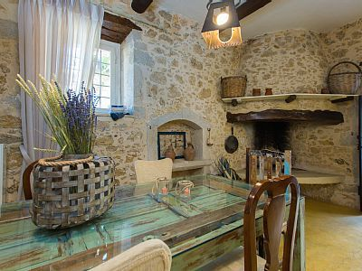 Rethymno villa rental - Dining room area with an open fireplace!