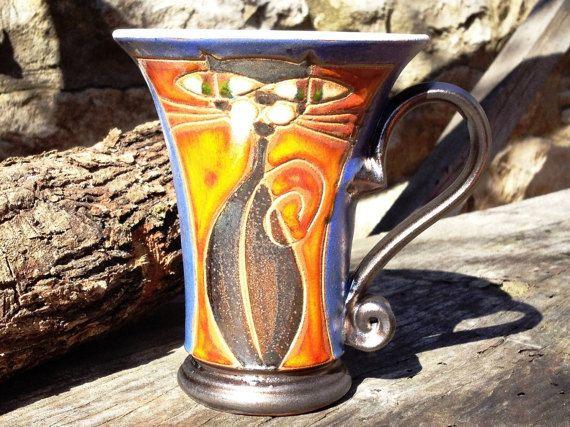 Ceramic Tea or Coffee Mug, Cute Mug, Handmade Pottery Mug, Blue and orange Mug, Wheel Thrown Mug, Danko Pottery
