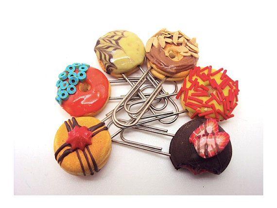 Yummy Donut Novelty Paper clips by SmallIdea on Etsy