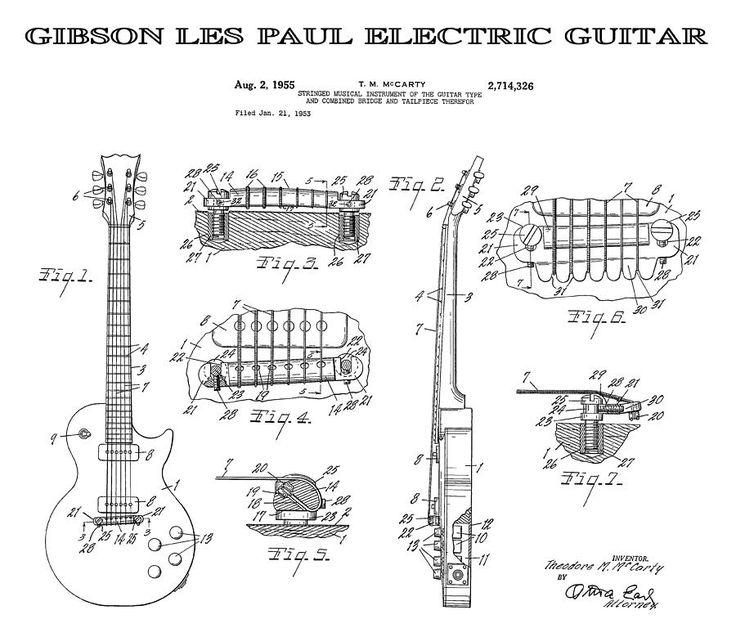 Gibson Les Paul Guitar 4 Patent Art 1955 Digital Art