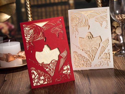 Invitación de la boda Set para imprimir rojo con MyUniqueWedding Por