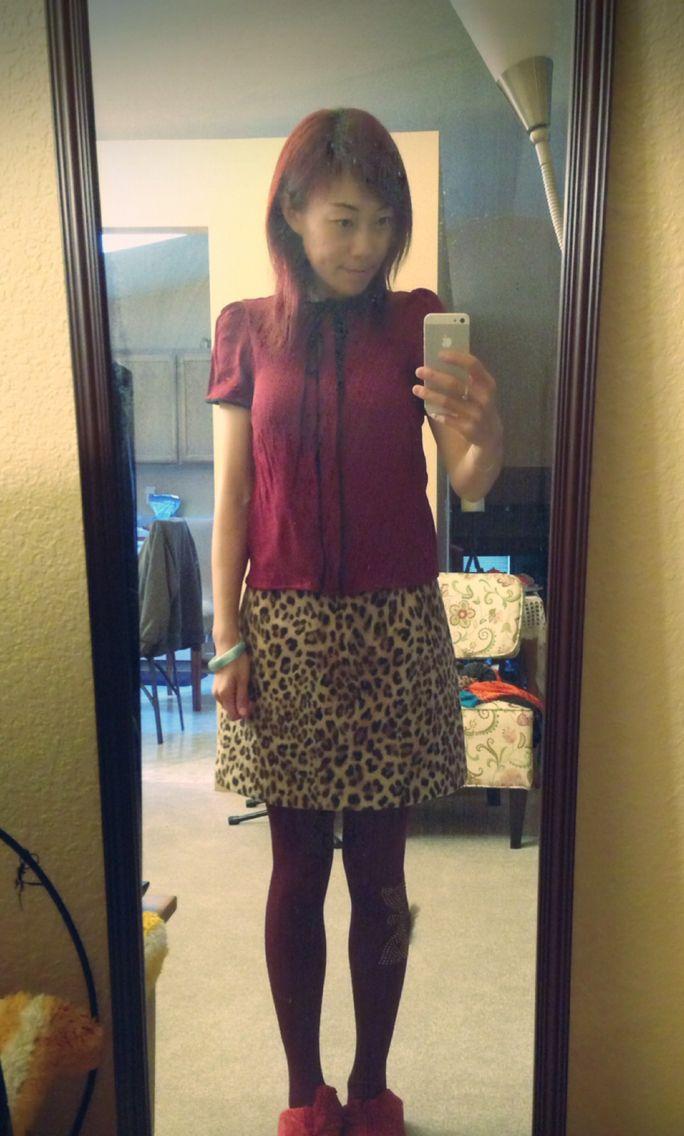 Burgundy/wine red Zara top, burgundy/wine red fox tight, leopard print Zara a-line short skirt
