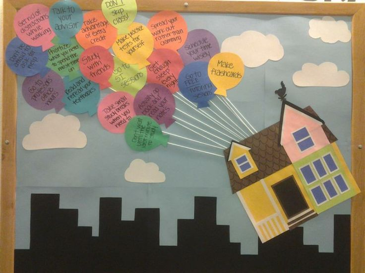 UP Themed Bulletin Board - You could write down study tips or anything else on the balloons. 25 Creative Bulletin Board Ideas for Kids, http://hative.com/creative-bulletin-board-ideas-for-kids/,