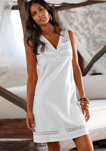 Šaty len/bavlna s krajkou macramé #ModinoCZ #white #whitefashion #trendy #summerfashion #style #bila #moda #whitesummer