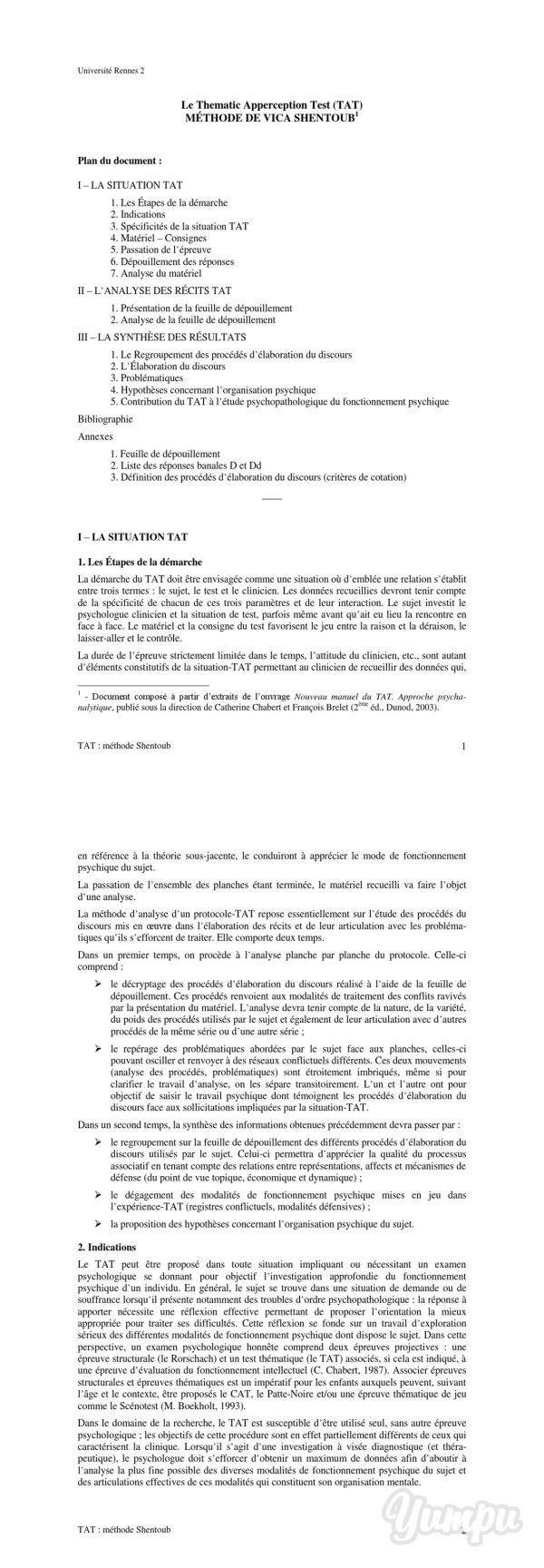 TAT méthode Shentoub (poly).pdf - CURSUS - Université Rennes 2