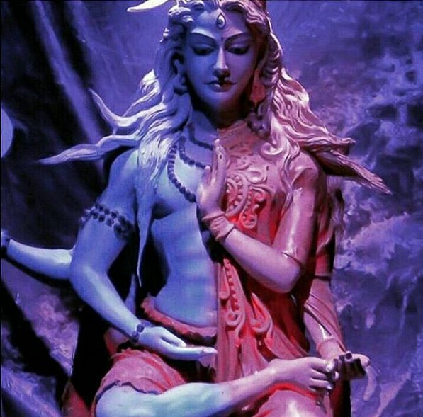 Ardhanarishvara, a composite androgynous form of the Hindu god Shiva and his consort Parvati, who represents the masculine and feminine essences combined; a figure of temperance / Nilam, Kirlia