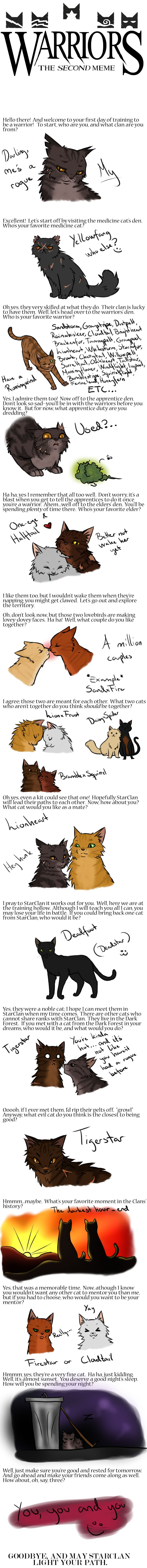 My name is Twilightstar i am leader of river clan; my fave medicine cats are spottedleaf and leafpool; my favorite warriors are firestar, sandstorm, mistyfoot, ravenpaw, whitestorm, etc;
