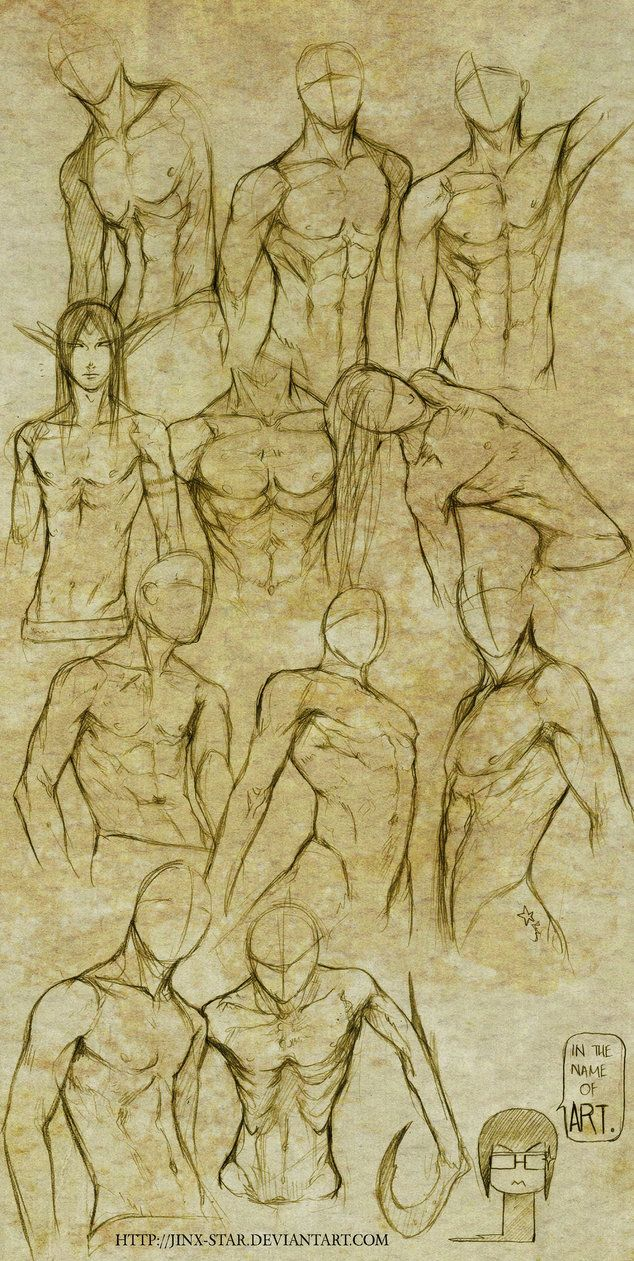 """Male Body Study I"" - Jinx-Star, DeviantArt.com~ This is nice but I wish it had more body types. I can only seem to find body studies and tutorials with very muscular guys. Which is nice and all, but not everyone's like that and I'd like to draw realistic characters instead of creating a fantasy world where everybody's ridiculously attractive. sigh"
