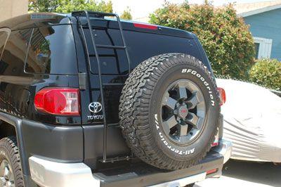 FJ Cruiser Parts Accessories: Toyota FJ Cruiser Black Powdercoat Stainless Steel Rear Ladder