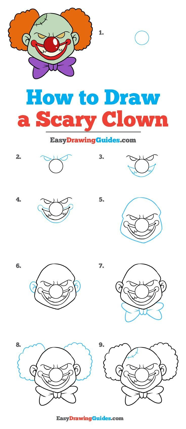 Learn How to Draw a Scary Clown: Easy Step-by-Step Drawing Tutorial for Kids and Beginners. #ScaryClown #drawingtutorial #easydrawing See the full tutorial at https://easydrawingguides.com/how-to-draw-scary-clown/.