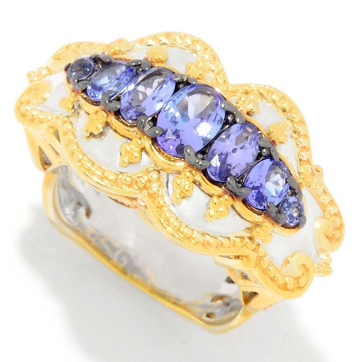157-278 - Gems en Vogue 1.41ctw Graduated Tanzanite East-West Ring
